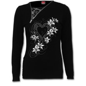 Pure of Heart Women's Small 2In1 Slant Zip Neck Lace Top - Black