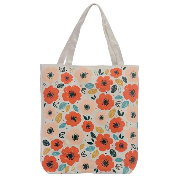 Poppy Fields Cotton Bag with Zip and Lining