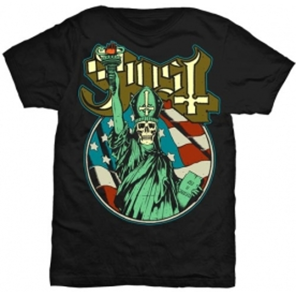 Ghost Statue of Liberty Mens Blk TS: Large
