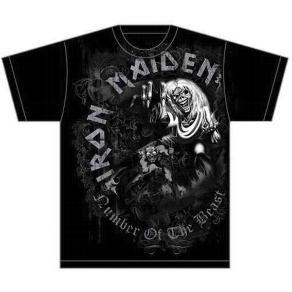 Iron Maiden - Number of the Beast Grey Tone Unisex XX-Large T-Shirt - Black
