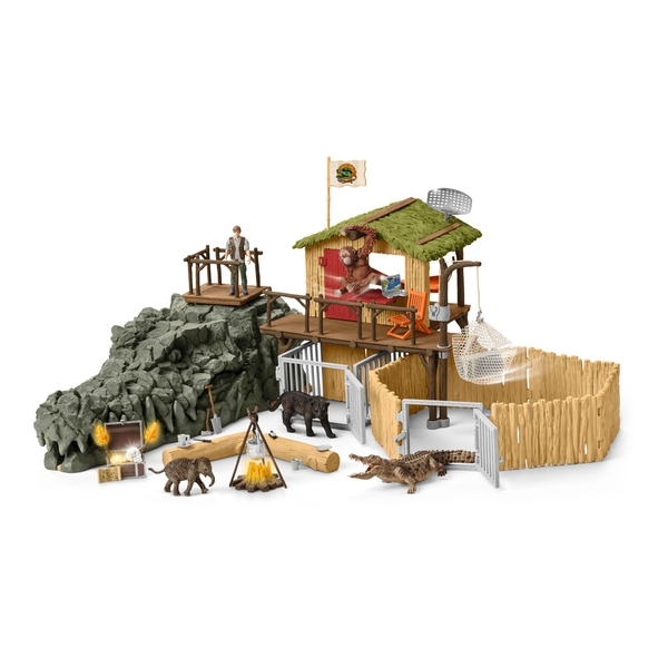 Schleich - Wild Life Croco Jungle Research Station Play Set