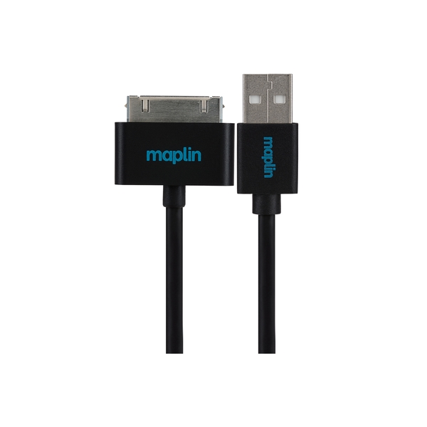 Maplin Premium 30 Pin for Samsung to USB A Male Cable 1.5m Black