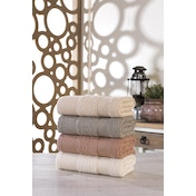 373VDN1112 Ares 50 White Beige Brown Grey Hand Towel Set (4 Pieces)