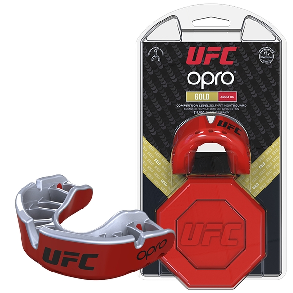 UFC Gold Mouthguard by Opro Red/Silver Youths