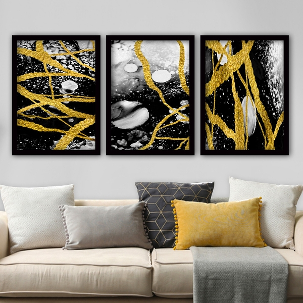 3SC76 Multicolor Decorative Framed Painting (3 Pieces)