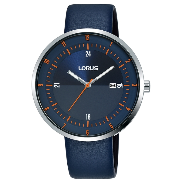 Lorus RH963LX9 Mens Dress Watch with Large Slim Dial & Navy Leather Strap