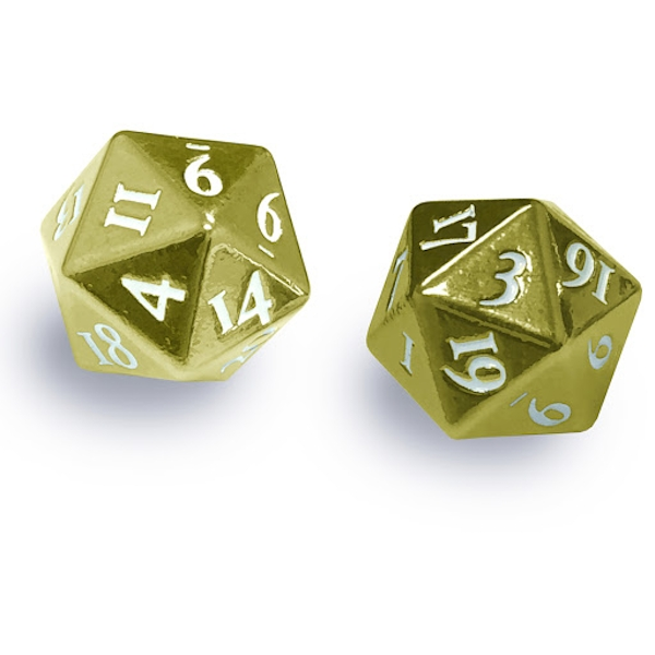 Ultra Pro Heavy Metal D20 Set-Gold with White Numbers (2 Pack)