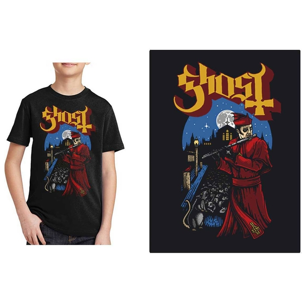 Ghost - Advanced Pied Piper Kids 11 - 12 Years T-Shirt - Black
