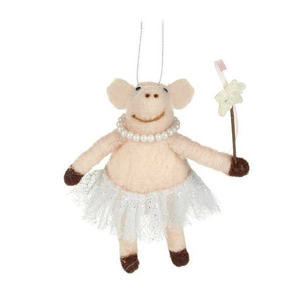 Hanging Wool Pig In Skirt With Wand By Heaven Sends