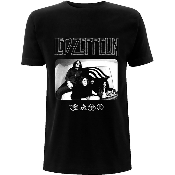Led Zeppelin - Icon Logo Photo Unisex Medium T-Shirt - Black
