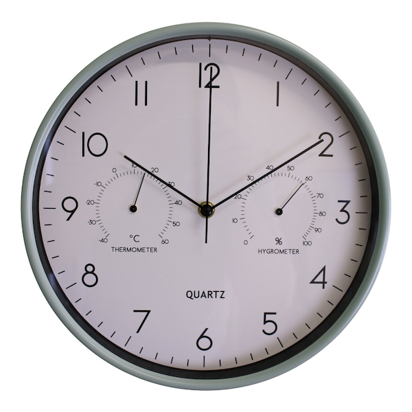 Green Wall Clock 30cm with Thermometer/Hygrometer
