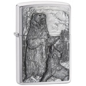 Zippo Bear vs. Wolf Brushed Chrome Finish Windproof Lighter