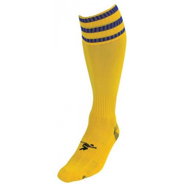 PT 3 Stripe Pro Football Socks LBoys Yellow/Royal