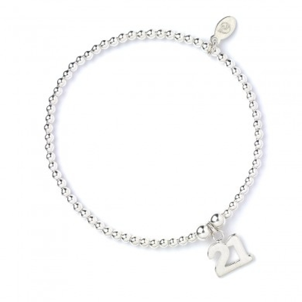21 Charm with Sterling Silver Ball Bead Bracelet