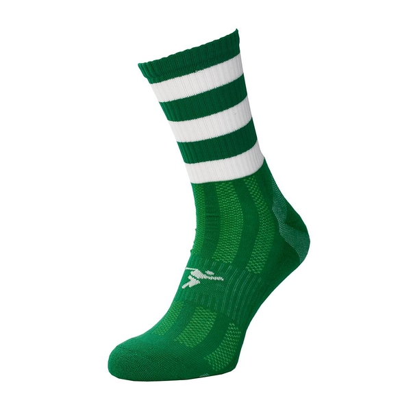 Precision Pro Hooped GAA Mid Socks Green/White - UK Size 7-11