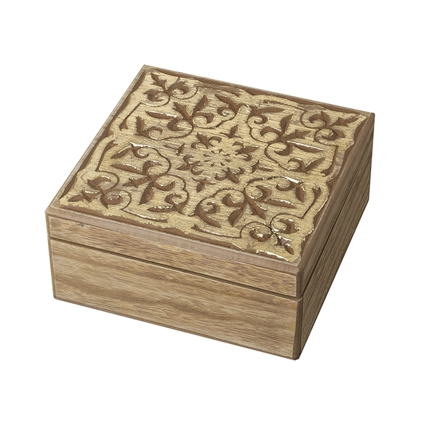 Tile Design Topped Wooden Box by Heaven Sends
