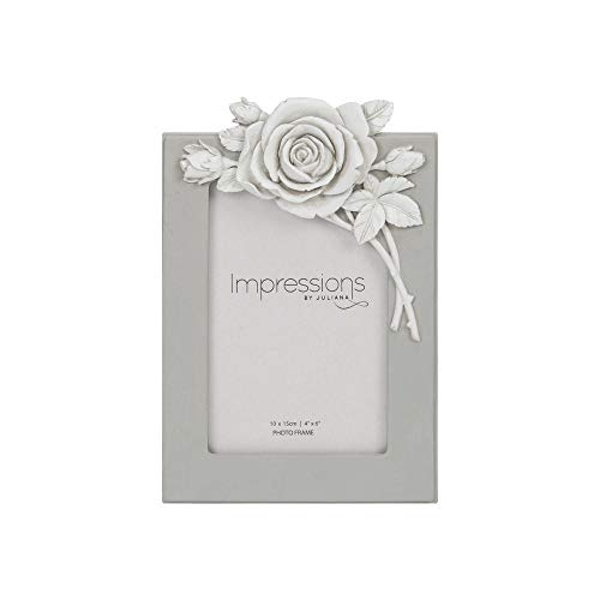 """4"""" x 6"""" - Impressions Grey Resin Photo Frame with Rose"""