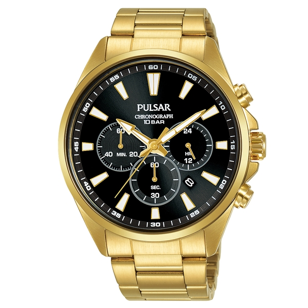 Mens Gold Plated Dress Bracelet Chronograph Watch Black Dial 100M