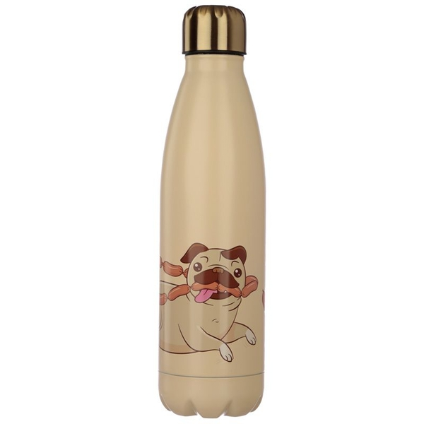 Mopps Pug Reusable Stainless Steel Hot & Cold Thermal Insulated Drinks Bottle 500ml