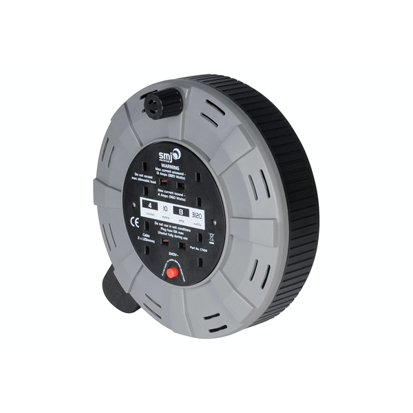 SMJ Electrical 10m 4 Socket Easy Wind Compact Cable Reel UK Plug