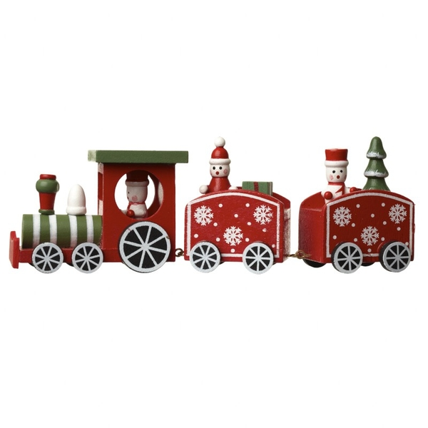 Red And Green Wooden Train Decoration