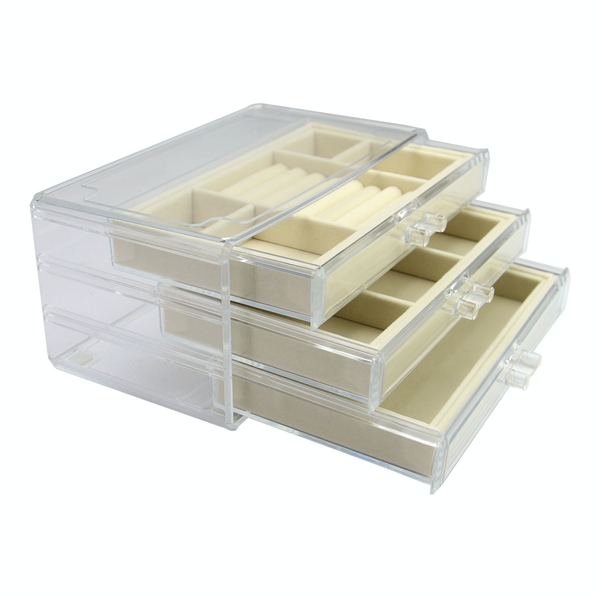 3 Drawer Acrylic Jewellery Box | Pukkr Cream