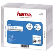 Hama Slim Double CD Jewel Case, pack of 10, transparent