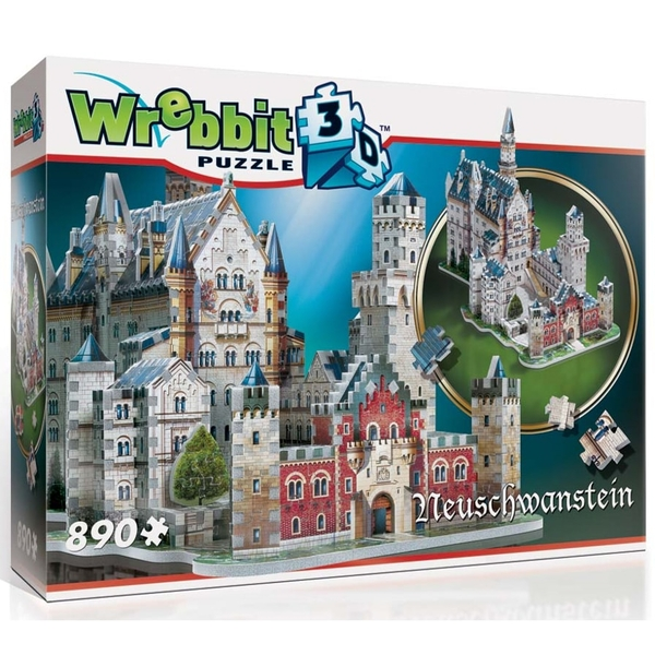 Wrebbit 3D Neuschwanstein Castle Jigsaw Puzzle - 890 Pieces [Damaged Packaging]