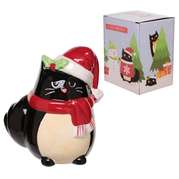 Feline Festive Christmas Cat Ceramic Money Box