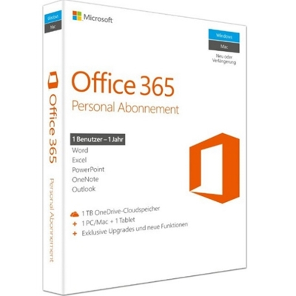 Office 365 Personal English EuroZone Subscription 1 Year Medialess