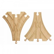 Wooden Railway Double Curved Switching Track 2 Pieces