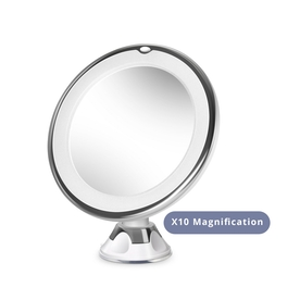circular-led-make-up-magnifying-mirror-360-rotation-suction-cup-base-mandw-x10-magnification-new