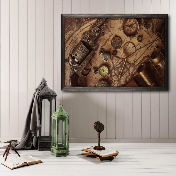 Antic Map Multicolor Decorative Framed Wooden Painting