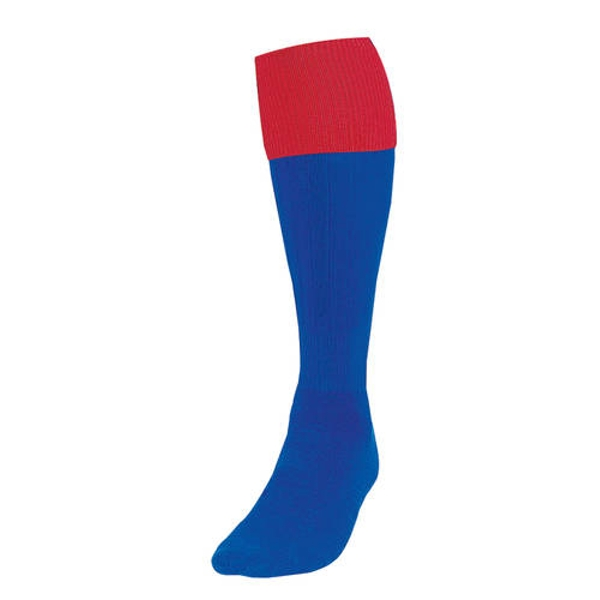 Precision Royal/Red Turnover Football Socks UK Size Junior 12-2