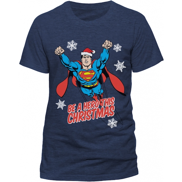 Superman - Christmas Hero Unisex Large T-Shirt - Blue