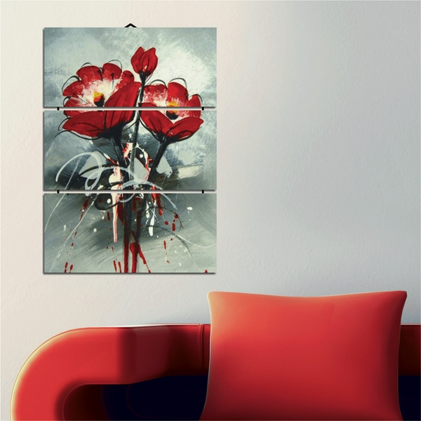Painted Red Flowers Decorative MDF Painting (3 Pieces)