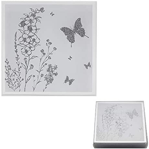 Mirror White Glass Set Of 4 Butterfly Coasters By Lesser & Pavey