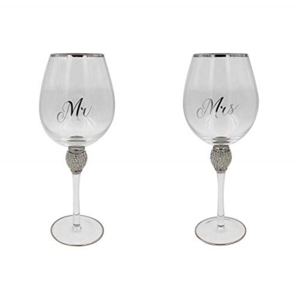 Mr&Mrs Diamante Wine Glass Silver By Lesser & Pavey