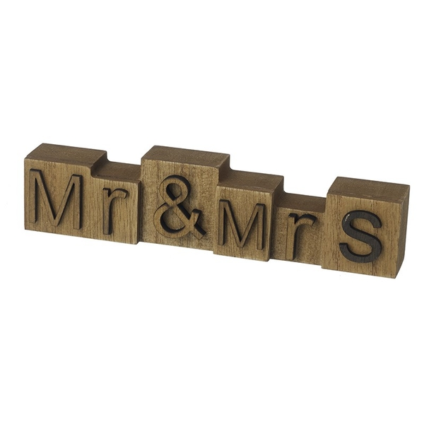 Mr & Mrs Wooden Block Sign By Heaven Sends