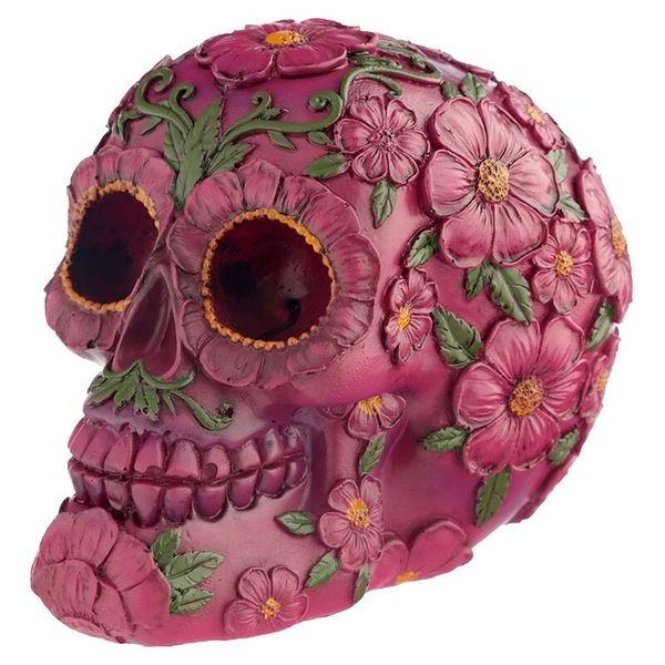 Fantasy Day of the Dead Pink Flower Skull
