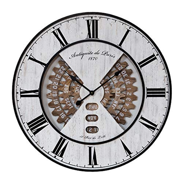 Hometime Metal & Wood Effect Wall Clock 80cm