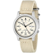 Seiko SNK803K2 Seiko 5 Mens Automatic Watch Beige Dial with Beige Fabric Belt