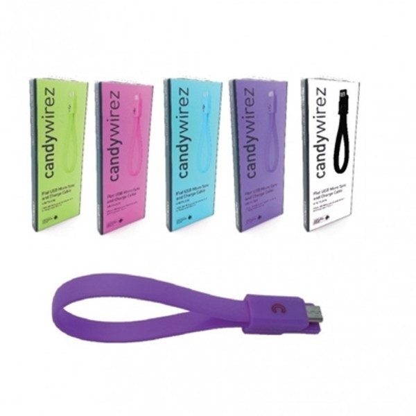 "Candywirez USB 2.0 A (M) to USB 2.0 Micro B (M) 0.15m / 6"" Purple Magnetic Silicon Tangle-Free Data Cable"