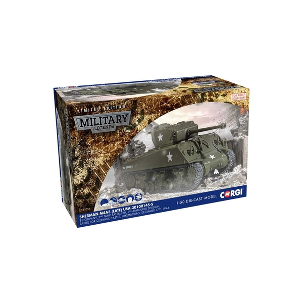Sherman M4 A3 US Army Luxembourg 1944 1:50 Corgi Military Legends Model