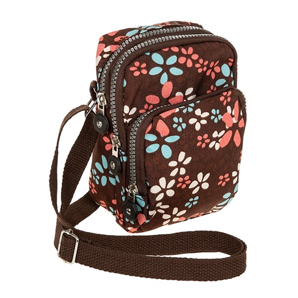 Mocha Modern Flowers Cross Body Bag