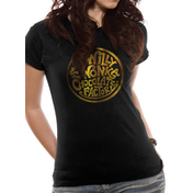 Willy Wonka - Gold Foil Logo Women's Large T-Shirt - Black