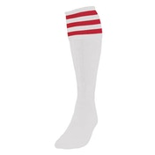 Precision 3 Stripe Football Socks White/Red - UK Size 3-6