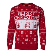Nintendo Super Mario Bros - Pixel Mario Men's XX-Large Christmas Jumper - Red