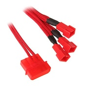 BitFenix Alchemy Molex to 3x 3-Pin 5V Adapter 20cm - sleeved red/red