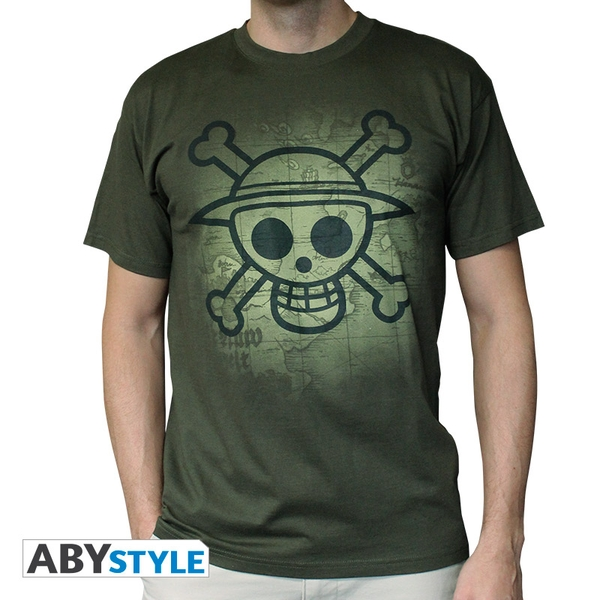 One Piece - Skull With Map Used Men's Small T-Shirt - Green